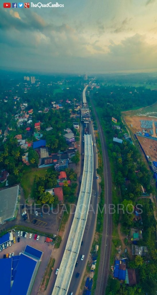 Kochi's Metro line at Muttom shot from a quadcopter! - Photo Copyright: