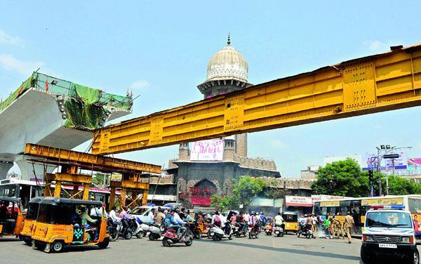 Hyderabad's metro under construction in front of Moazzam Jahi Market - Photo Copyright: Deccan Chronicle