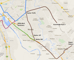 Alignment of the 29.09 km Noida - Greater Noida line