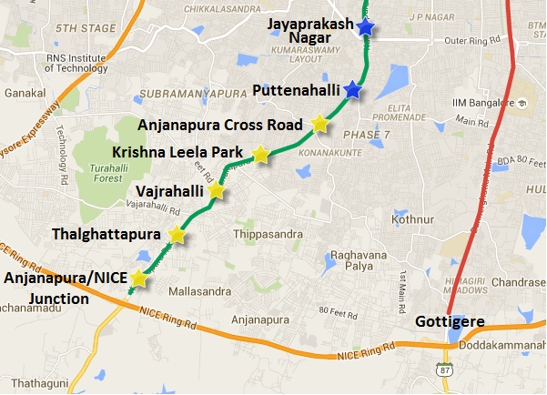 Alignment of the Green line's Puttenahalli to Anjanapura extension