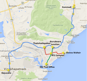 Alignment of the 3 lines of Vizag's 42.55 Km metro system