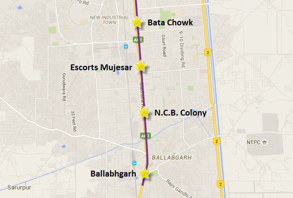 Route of the 3.2 Km extension from Escorts Mujesar to Ballabhgarh