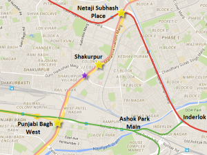 Purple star indicates location of Brittania Chowk section of the Pink line