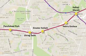 Alignment of Chirag Delhi - Greater Kailash metro ; view Delhi Metro map
