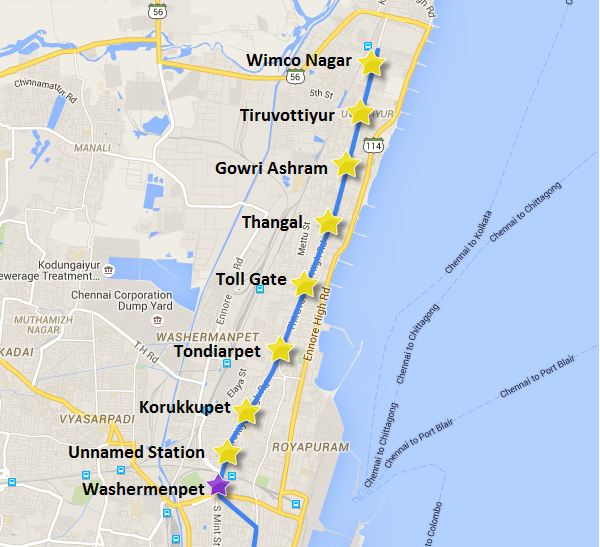 Alignment of Chennai Metro's extension from Washermenpet to Wimco Nagar
