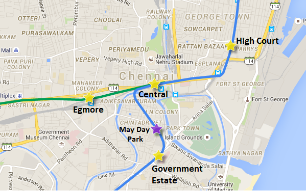Remaining tunnel sections of Chennai's Metro project - view Chennai Metro map