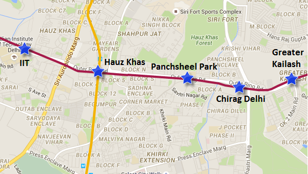 Alignment of Chirag Delhi - Panchsheel Park section