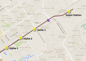 Location of the first pier cap on the Noida-Gr.Noida metro line - view Noida-Gr.Noida Metro map