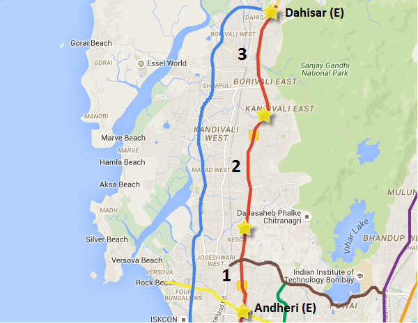 Alignment of Dahisar (E) - Andheri (E) line along with package numbers