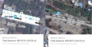 Length of D.N. Nagar station on Mumbai's Line 1 and Sector-11 station on Navi Mumbai's Line 1
