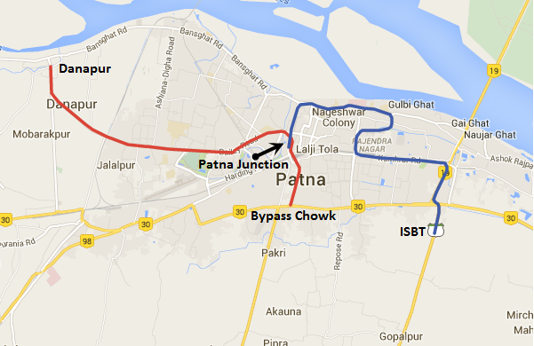 Alignment of Patna metro's 2 lines