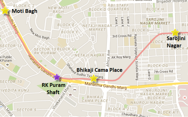 Location & alignment of the RK Puram shaft to Bhikaji Cama Place section of Delhi Metro's Pink line