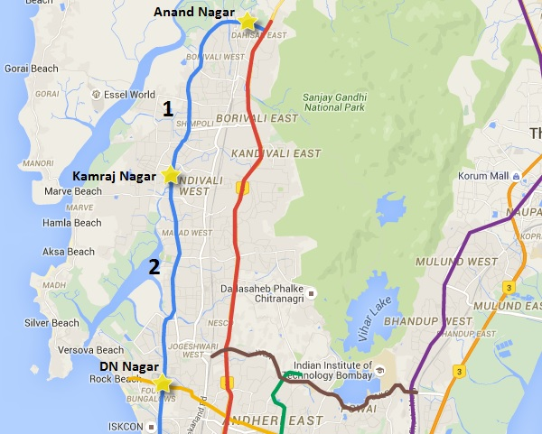 Dahisar - DN Nagar Metro Map