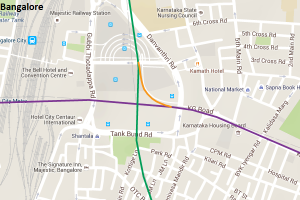 Bangalore Metro's rake interchange ramp (in orange)