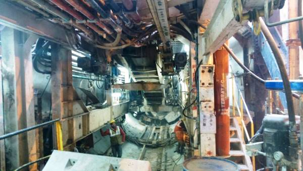 Inside the backup gantry of the TBM - Photo Copyright: Abhay Kumar