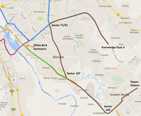Noida - Gr. Noida Metro Map