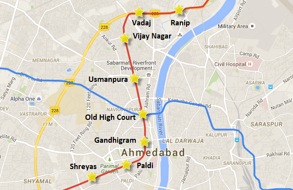 Alignment from Shreyas to Ranip - view Ahmedabad Metro map and information