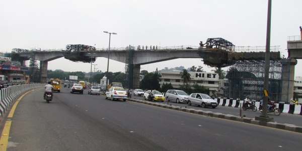 Chennai Metro's cantilever section shot in 2013 - Photo Copyright: Arun Christopher