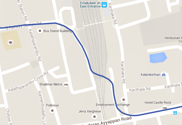 Alignment of Cantilever section of Kochi Metro's line