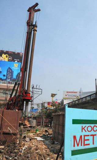 A piling rig at Kochi's South overbridge - Photo Copyright: The Hindu