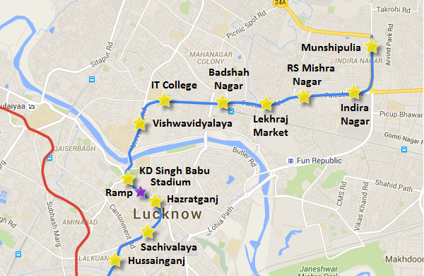 LKCC-07 from KD Singh Babu Stadium to Munshipulia - view Lucknow Metro map and information