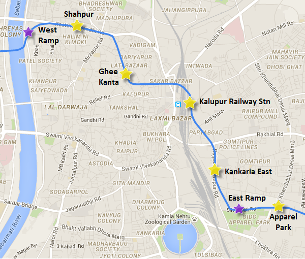 Alignment between West Ramp & East Ramp - view Ahmedabad Metro map and information