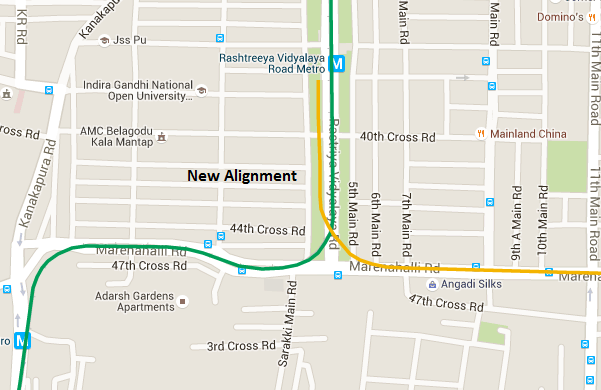 New Alignment - view Bangalore Metro Phase 2 map and information