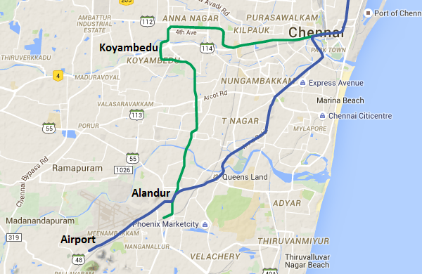 Location of Koyambedu, Alandur & Airport - view Chennai Metro map & information