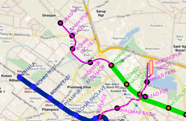 Siraspur Metro station's inclusion in DMRC's official map