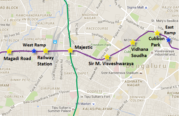 Location of Cubbon Park Metro station