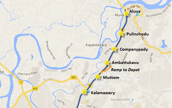 Location of Aluva station - view Kochi Metro map and information