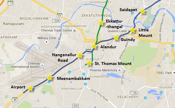 Location of St. Thomas Mount Station - view Chennai Metro map & information