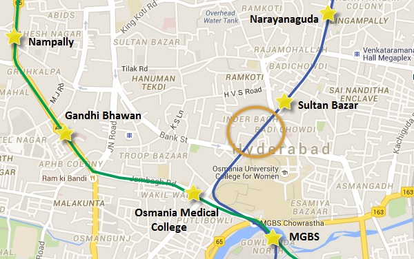 Location of Sultan Bazaar Road - view Hyderabad Metro map & information