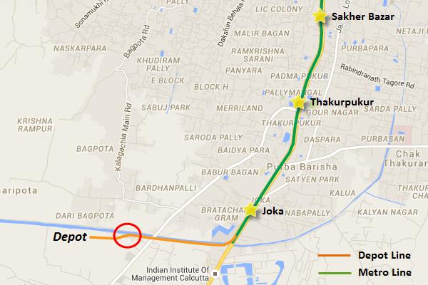 Alignment of Joka-Esplanade line's depot section - view Kolkata Metro map and information