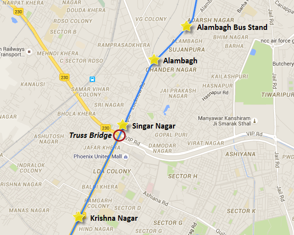 Bridge's final resting location - view Lucknow Metro information & map