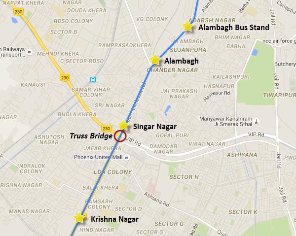 Bridge's final resting location - view Lucknow Metro information & map