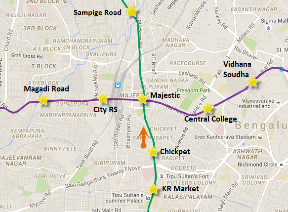 Arrows represent direction of tunneling by the last 2 TBMs - view Bangalore Metro map