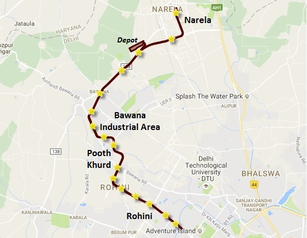 New alignment of the Rohini - Narela line - Source: DMRC