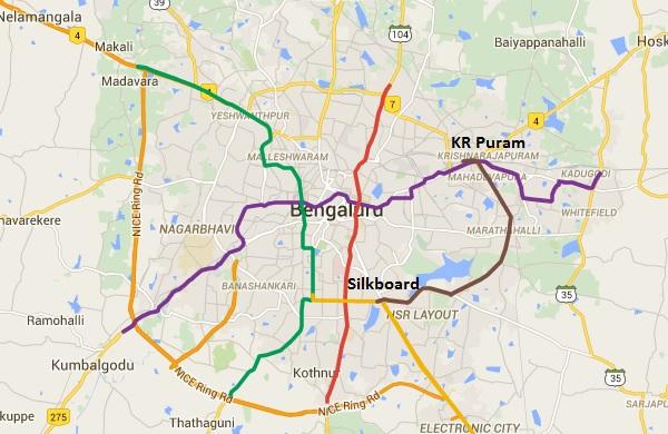 Bmrcl Reveals Silk Board Kr Puram Line S Detailed