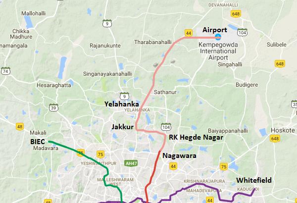 hegde nagar bangalore map Metro Line To Bangalore Airport Finalized Via Jakkur Yelahanka hegde nagar bangalore map
