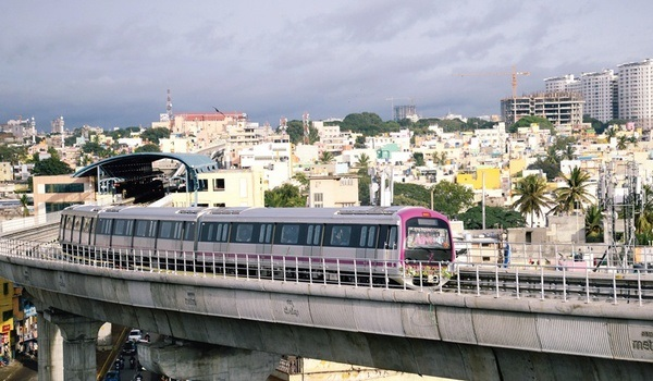 Image result for images of metro trains and metro station in bengaluru