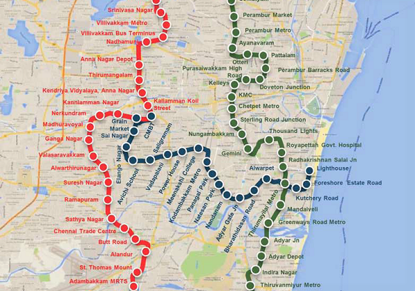 2 3 Train Subway Map.Cmrl Publishes Official Phase 2 Map Of Chennai Metro Project The