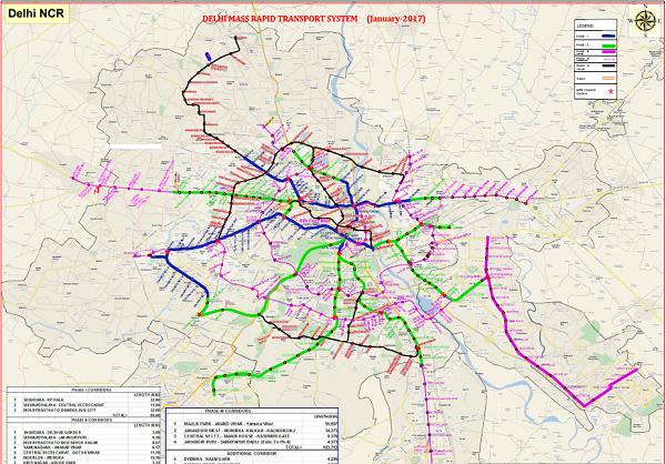 DMRC Publishes New Phase 4 Map & Table of Delhi's Metro
