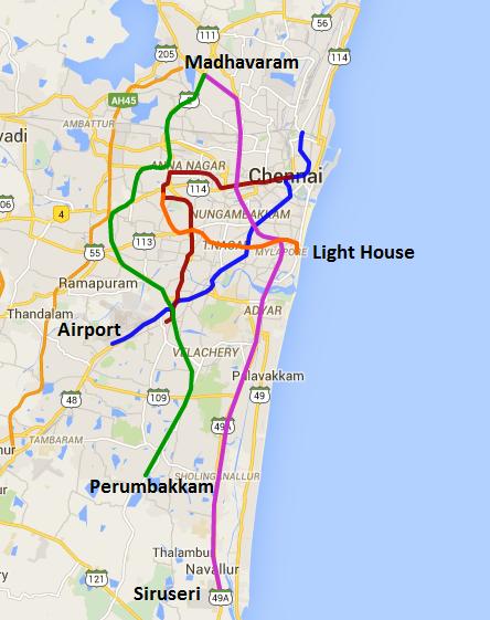 Chennai Metro Phase II Routes