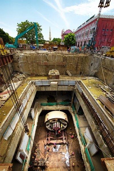 View of the TBM shaft from a crane - Photo Copyright: Jurgen Mick