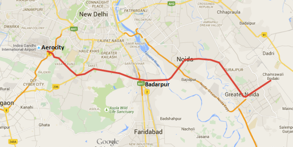 Tentative Route - Greater Noida - IGI Airport