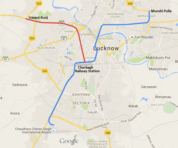 Lucknow Metro Map.East West Corridor To Be Included In Lucknow S Phase 1 The Metro