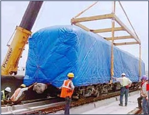 New train being unloaded from a trailer - photo: Dainik Jagran