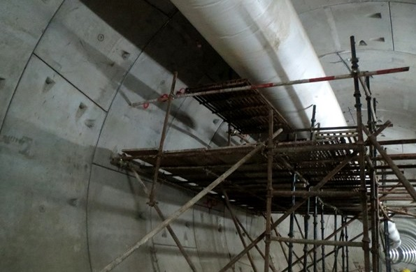 Scaffolding along with the ventilation pipe - Photo Copyright: Geosmart