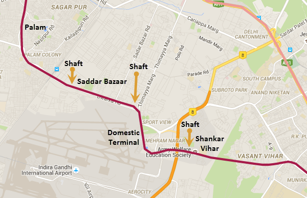delhi palam airport map Tbt Delhi Metro Completes Palam Shankar Vihar Tunnels The delhi palam airport map